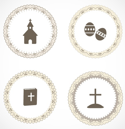 catholicism: Vintage labels with icons