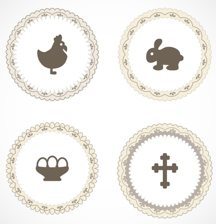 Vintage labels with icons Stock Vector - 18204450