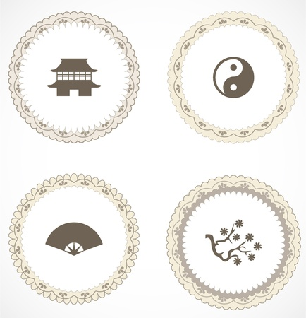 Vintage labels with icons Stock Vector - 18204499