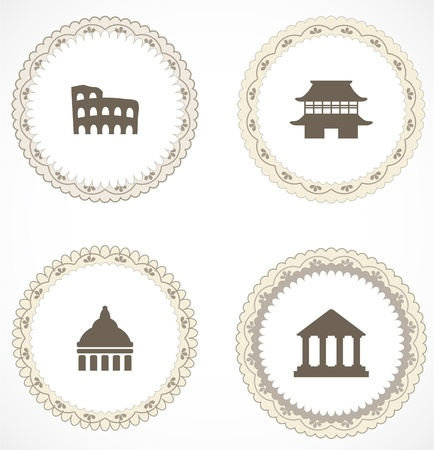 Vintage labels with icons Stock Vector - 18204458