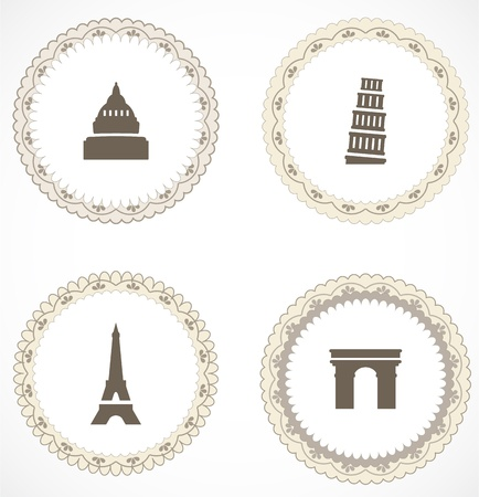 Vintage labels with icons Stock Vector - 18204497