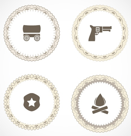 Vintage labels with icons Vector