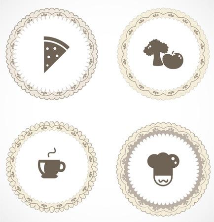 chef italiano: Las etiquetas del vintage con iconos