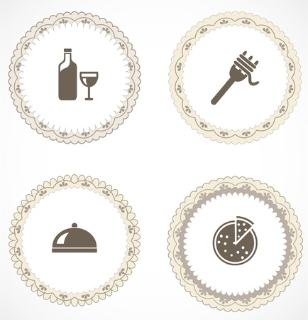 Vintage labels with icons Stock Vector - 18456403