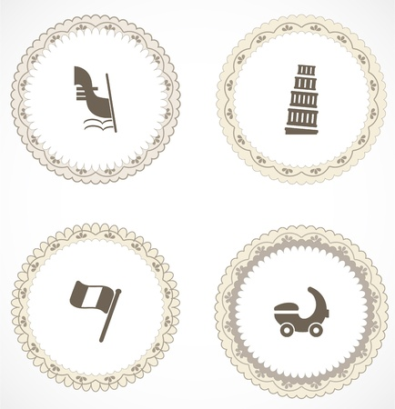 Vintage labels with icons Stock Vector - 18456402