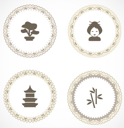 Vintage labels with icons Stock Vector - 18456401