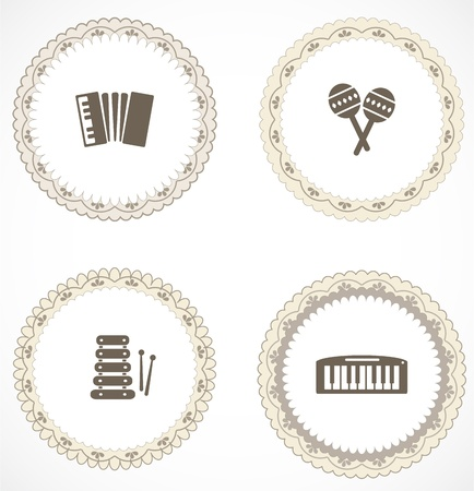 Vintage labels with icons Stock Vector - 18456400