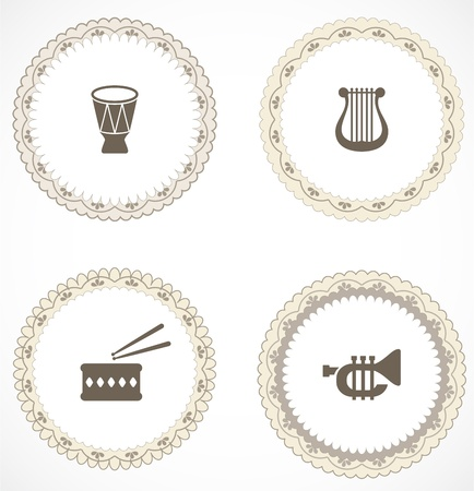 brass band: Vintage labels with icons