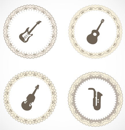 Vintage labels with icons Stock Vector - 18456404