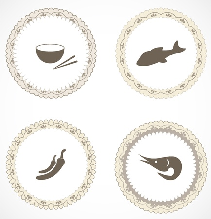 Vintage labels with icons Stock Vector - 18499980