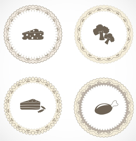Vintage labels with icons Stock Vector - 18499992