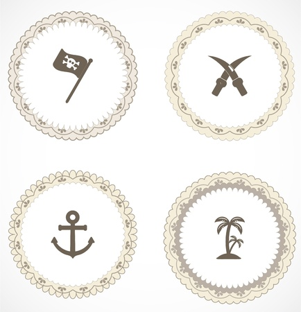 Vintage labels with icons Stock Vector - 18499990