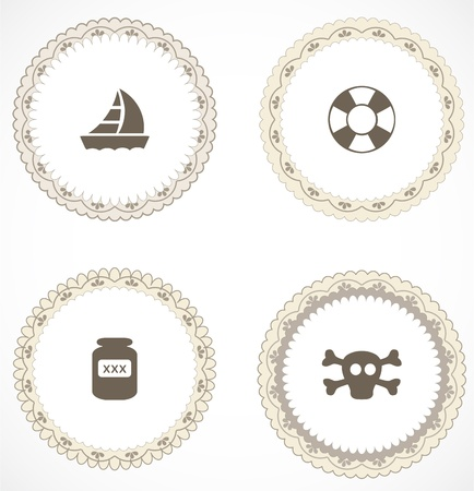 Vintage labels with icons Stock Vector - 18499989