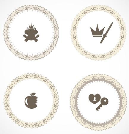 princess frog: Las etiquetas del vintage con iconos