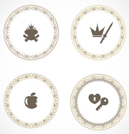 Vintage labels with icons Stock Vector - 18499988
