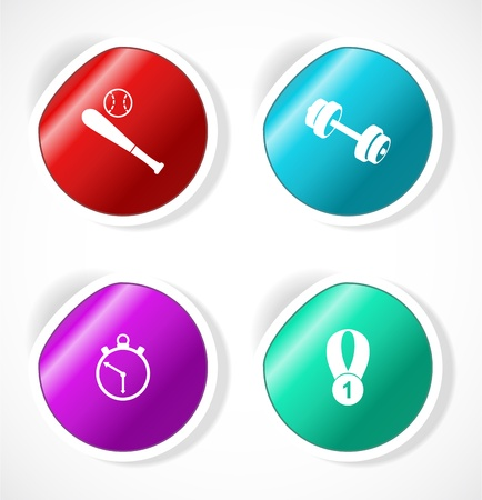 Set of stickers with icons Stock Vector - 18483759