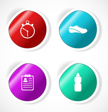 Set of stickers with icons Stock Vector - 18483729