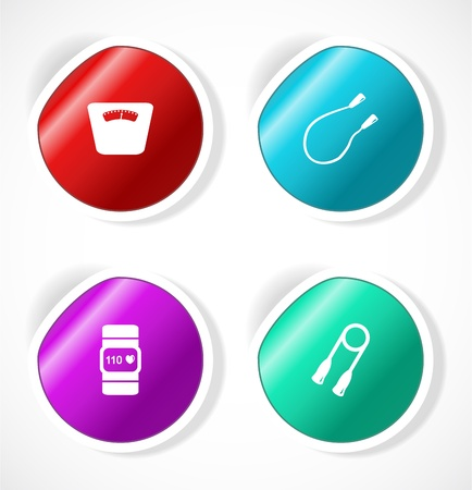 Set of stickers with icons Stock Vector - 18483730