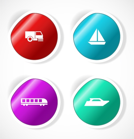 Set of stickers with icons Stock Vector - 18483754