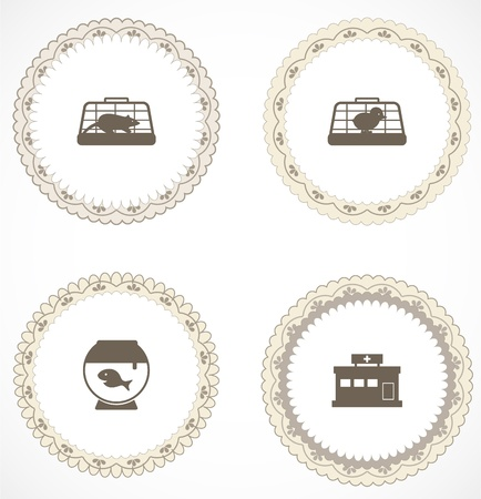 Vintage labels with icons Stock Vector - 18583754