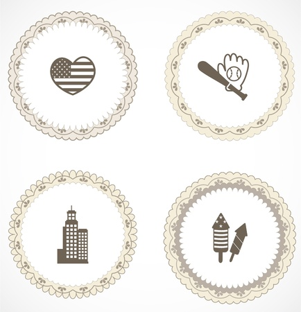 Vintage labels with icons Stock Vector - 18583757