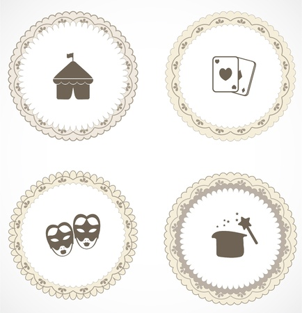 Vintage labels with icons Stock Vector - 18583756