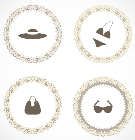 Vintage labels with icons Stock Vector - 18583755
