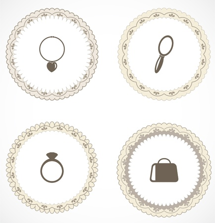 Vintage labels with icons Stock Vector - 18583752