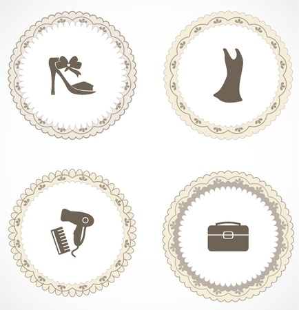 Vintage labels with icons Stock Vector - 18583758