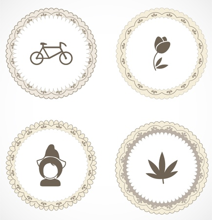 Vintage labels with icons Stock Vector - 18663617