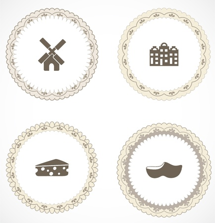 Vintage labels with icons Stock Vector - 18663628