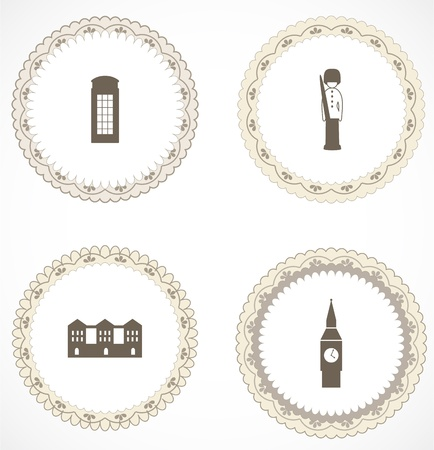 Vintage labels with icons Stock Vector - 18663619
