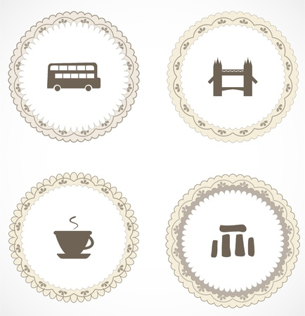 stonehenge: Vintage labels with icons