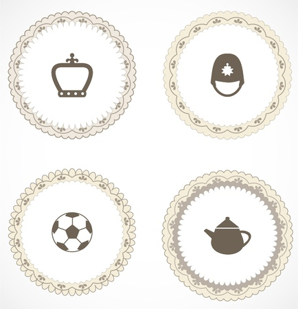 Vintage labels with icons Stock Vector - 18663612