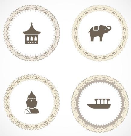 thai buddha: Las etiquetas del vintage con iconos