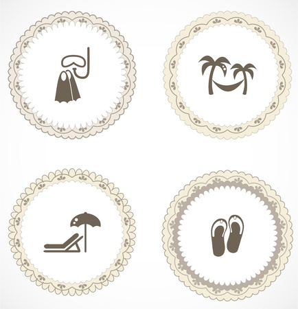 Vintage labels with icons Stock Vector - 18663623