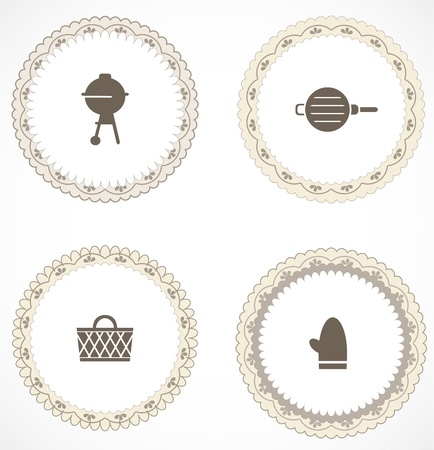 Vintage labels with icons Stock Vector - 18663611
