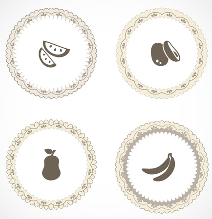 Vintage labels with icons Stock Vector - 18663630