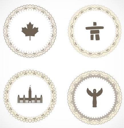canadian icon: Vintage labels with icons