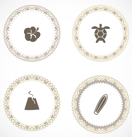 Vintage labels with icons Stock Vector - 18847295