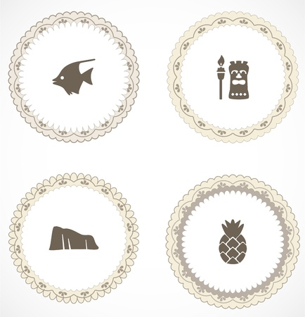 polynesian ethnicity: Vintage labels with icons