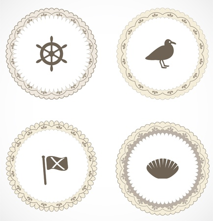 aquatic bird: Vintage labels with icons