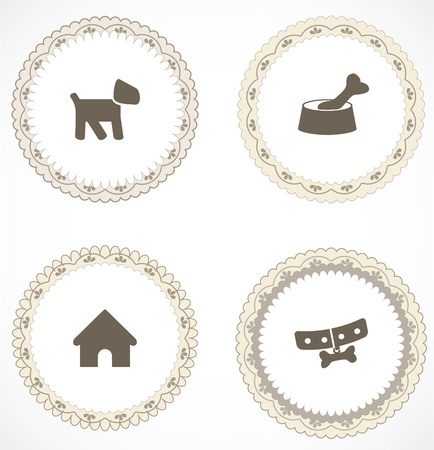 round collar: Vintage labels with icons