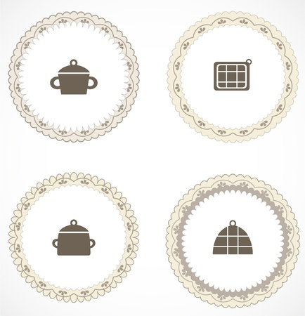 kitchen ware: Vintage labels with icons