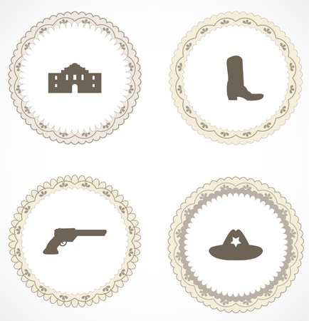 seal gun: Vintage labels with icons