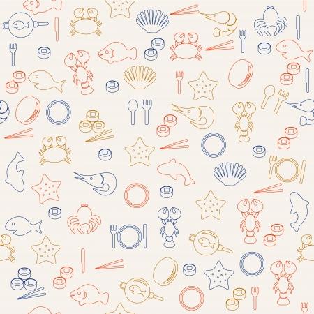 Sea food seamless pattern