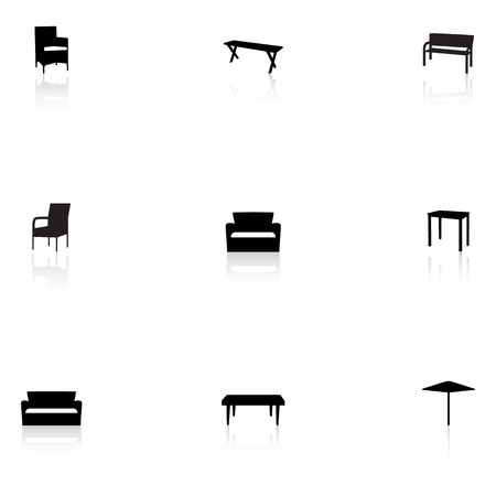 patio furniture: Furniture icons - outdoor Illustration