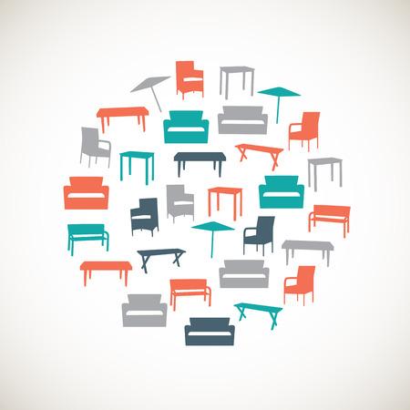 Kleurrijke meubels iconen - outdoor