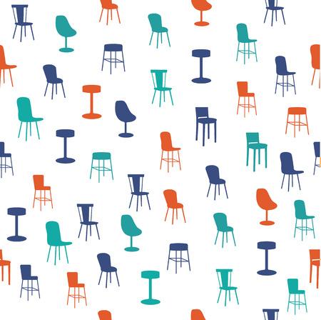 Furniture seamless pattern Vector