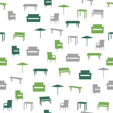 patio chair: Furniture seamless pattern